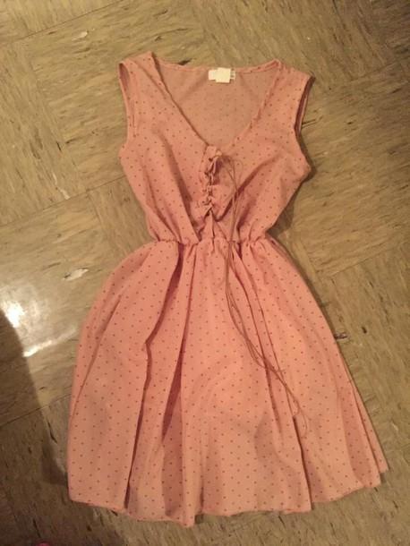 dress pink dress dots print