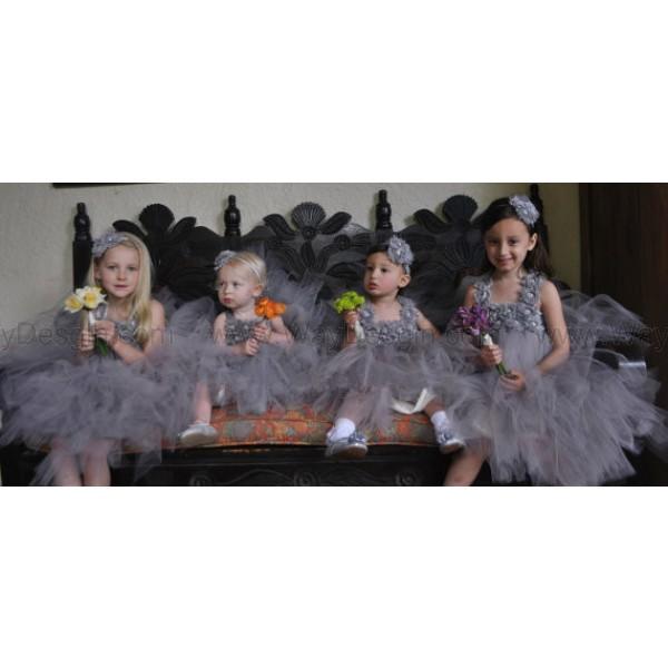 flower girl dress gray toddler tutu dress grey dress dress