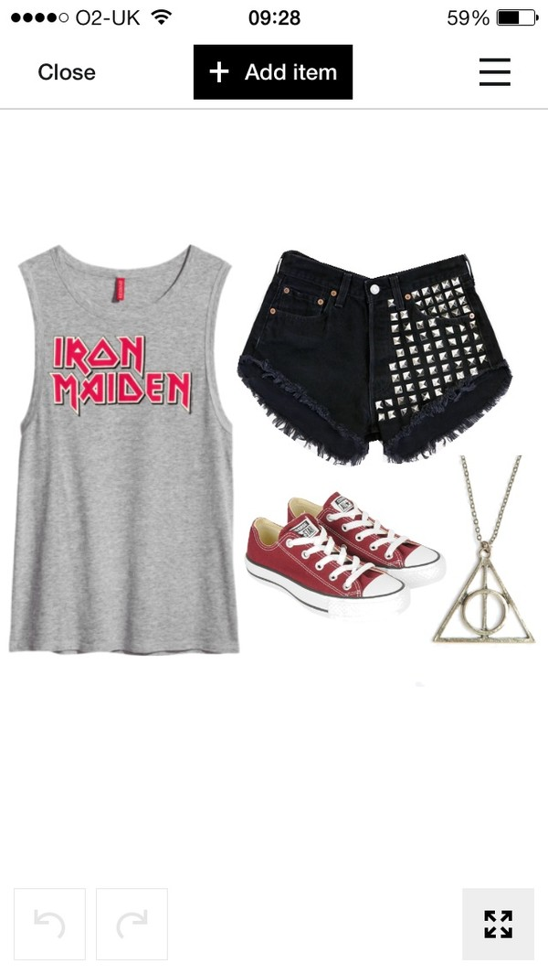 tank top iron maiden shoes shorts jewels