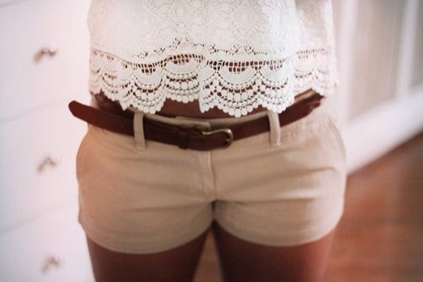 shorts shirt white shirt blouse lace white belt brown belt shorts
