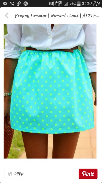 skirt summer cute preppy sweet green blue classy