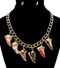 Gold Jordan Style Shoes Sneakers Charm Necklace Earrings Set