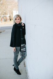 wild one forever - fashion & style by kristin,blogger,top,jeans,shoes,scarf,jewels,winter outfits,skinny jeans,grey jeans,ankle boots