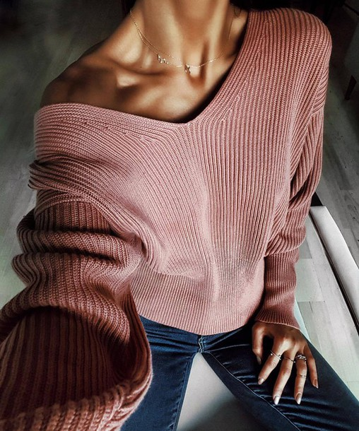 Sweater: tumblr, pink sweater, v neck, necklace, gold necklace ...