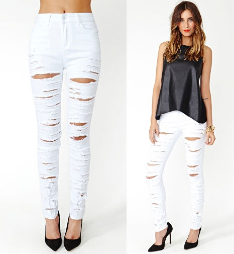 Destroyed Ripped High Waist Stretch Skinny Pencil Jeans Denim ...