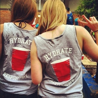 t-shirt hydrate red solo cup tank top hydrate responsibly skreened