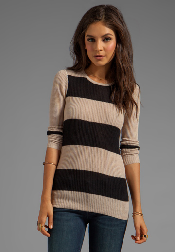 DUFFY Superaire Stripe Sweater in Latte/Black - Pullover