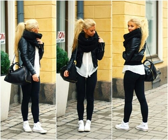 jacket black leather skinny jeans scarf shoes jewels