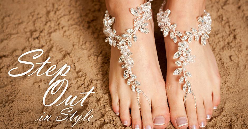 b7819966a54c Chunky Crystal   Diamante Bridal Barefoot Sandals Chunky Crystal ...