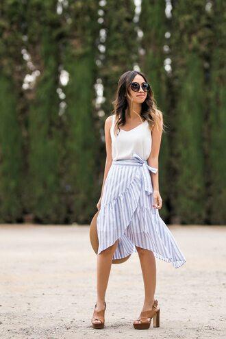 skirt tumblr wrap skirt ruffle midi skirt stripes striped skirt top camisole white top sandals sandal heels high heel sandals sunglasses wrap ruffle skirt asymmetrical skirt shoes lace and locks blogger