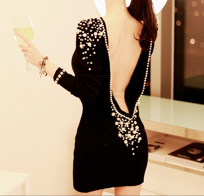 Free Shipping Fashion Sexy Big Open Back Pearl Beading Womens One piece Knitted Bodycon Dress 2014 Spring Club Wear N70333-inDresses from Apparel & Accessories on Aliexpress.com