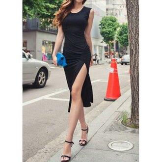 dress black fashion summer elegant style slit dress sexy classy hot rose wholesale-feb