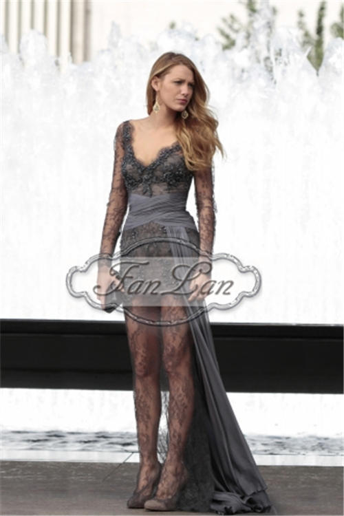 Fast Shipping 2013 Gossip Girl Blake Lively Fashion Zuhair Murad Long Sleeves Celebrity Inspired dress See Through lace Gown-in Celebrity-Inspired Dresses from Apparel & Accessories on Aliexpress.com