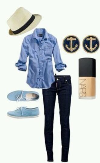 jewels anchors anchor earrings stud earrings blue shirt blue nautical denim shirt blouse cardigan shoes
