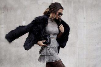 frassy blogger jacket dress tights shoes bag faux fur jacket grey dress mini dress quilted bag black bag