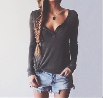 top cute henley summer spring long sleeves
