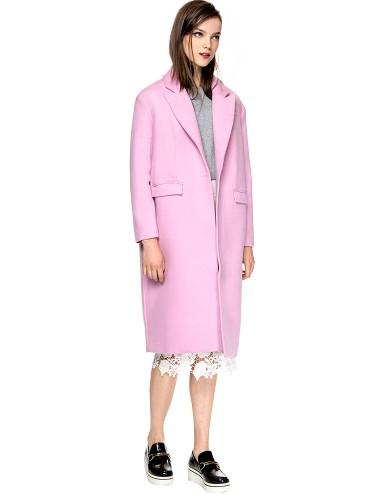 Long Pink Wool Coat - Pastel Pink Cocoon Coat - $198