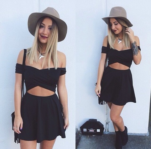 off the shoulder mini little black dress short sleeved skater skirt cut-out black#dress#mini