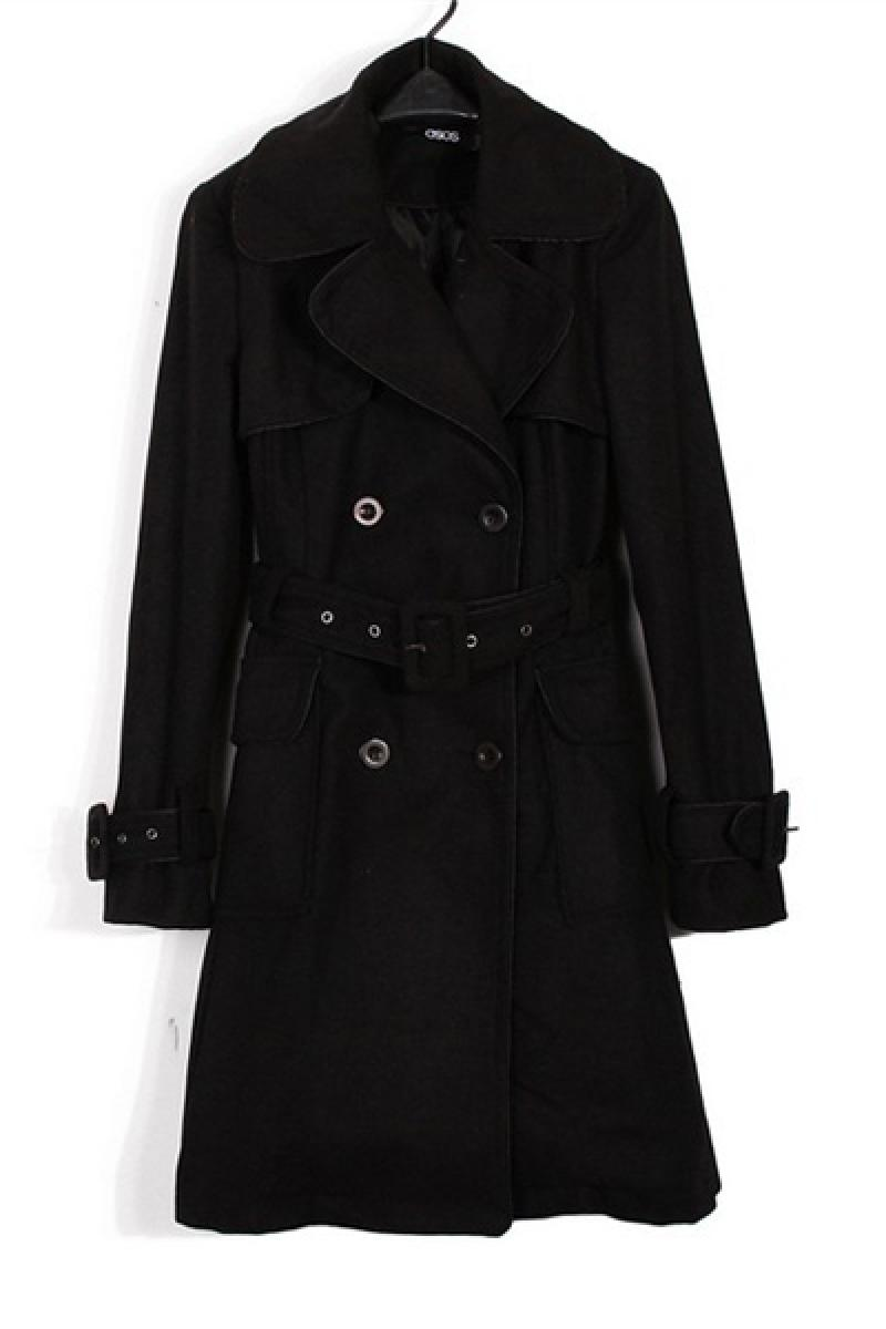 Western Black Double-breasted Lapel With Belt Long Section Windbreaker  ,Cheap in Wendybox.com