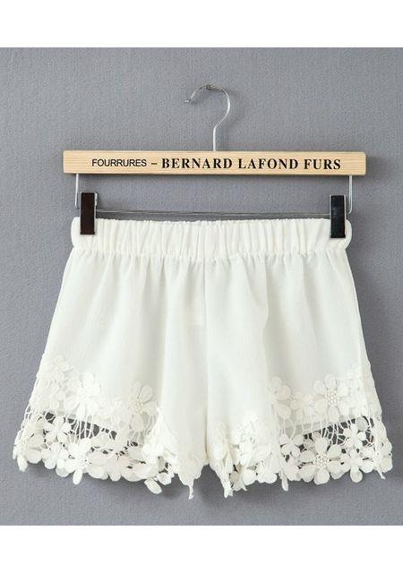 Women's lace hollow out hem pure color shorts online