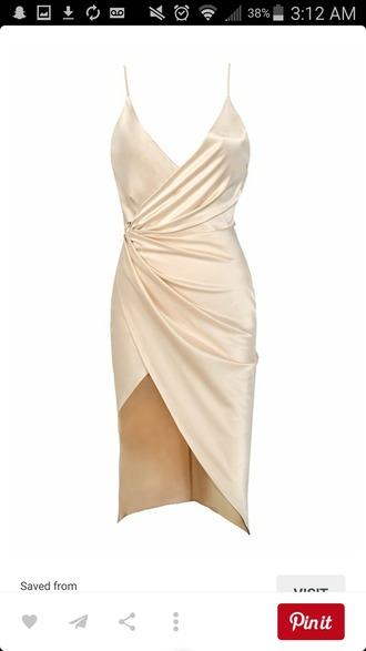 dress white silk nude dress satin white dress cream silk dress short dress v neck dress