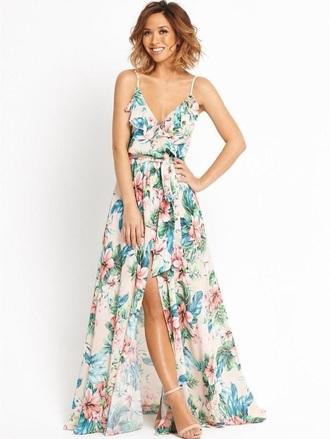 dress chiffon dress and ruffles floral leg cut dress maxi dress
