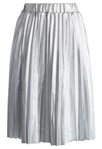 chicwish faux leather pleated skirt lihgt silver midi skirt fashion and chic