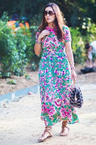 dress floral maxi dress paris tina leung streetstyle