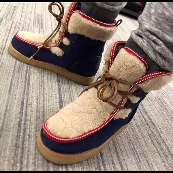 shoes suede boots tieup shoes nice shoes winter boots boots furboots multicolor lace-up shoes comfy boots swag navy blue boots mens shoes fluffy red trim furry boots navy boot chunky lace up boots jacket fur boots blue fur shearling boots menswear red navy brown red