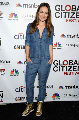 jumpsuit denim olivia wilde