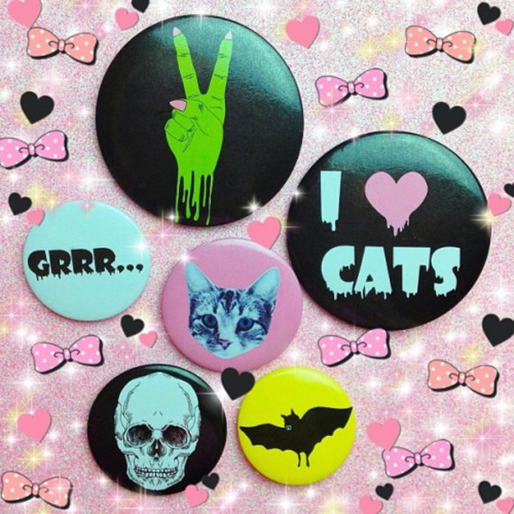 cats hair accessories cute halloween pins skeleton goth hipster