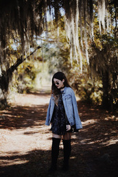 madison lane,blogger,dress,jacket,shoes,bag,sunglasses,denim jacket,mini dress,fall outfits