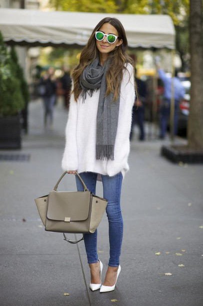 something navy blogger jeans scarf sunglasses make-up bag fuzzy sweater mirrored sunglasses stilettos white oversized sweater sweater