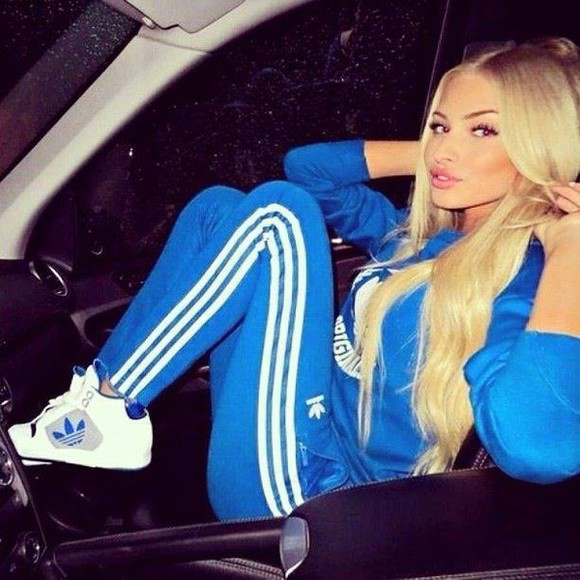 adidas blue tights royal blue kicks adidas sneakers sneakers pants shoes sweater alena shishkova white cute adidas originals