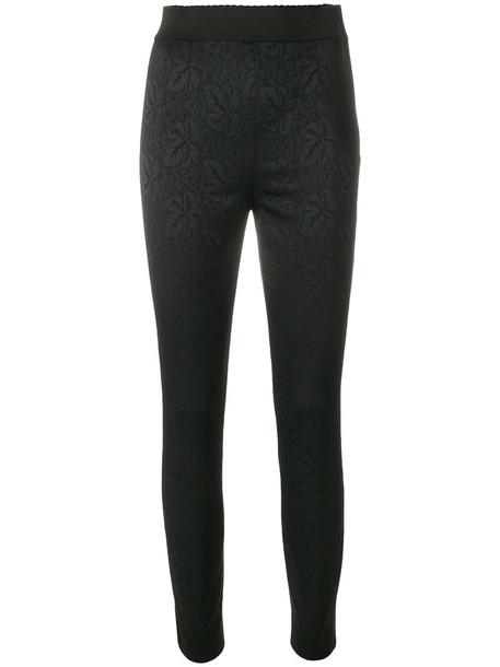 Dolce & Gabbana women spandex floral cotton black pants