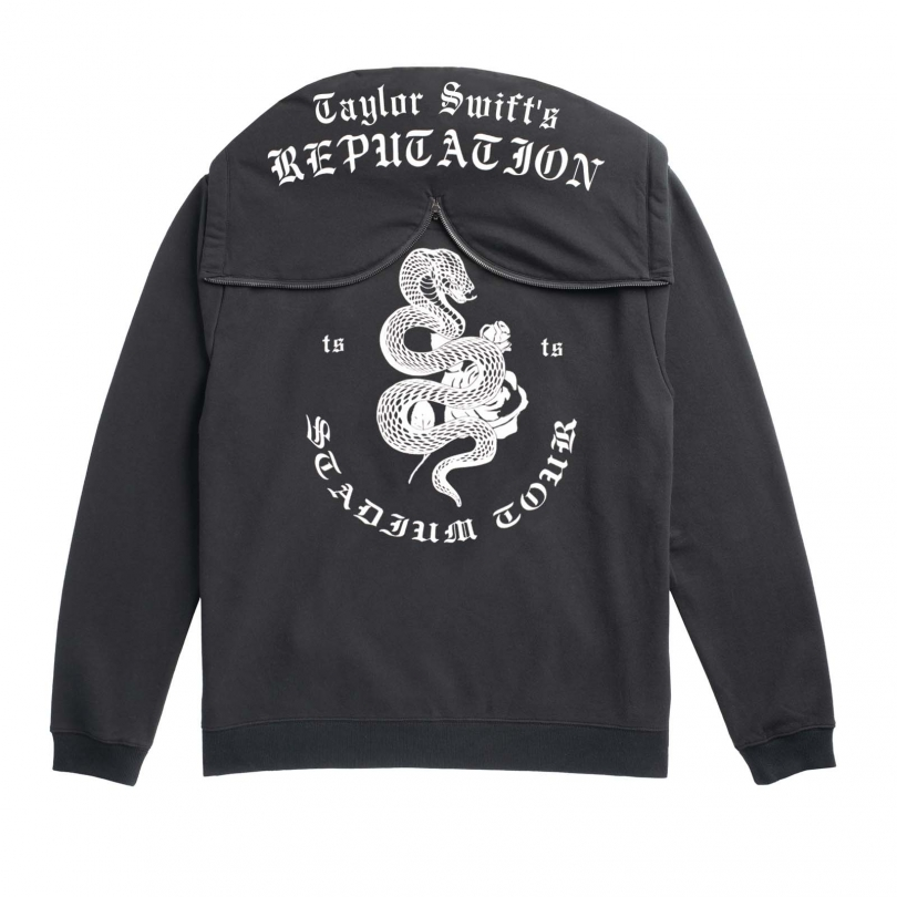 BLACK TOUR HOODIE WITH SNAKE DESIGN