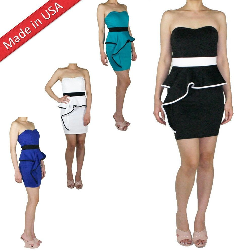 New Bare Top Peplum Dress Mini Skirt Frill Ruffle Cocktail Strapless Waist Belt