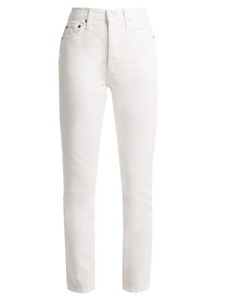Re/done Originals - Double Needle Cropped Straight Leg Jeans - Womens - White