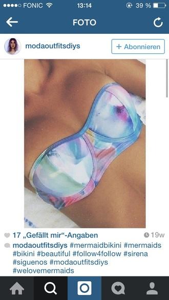 swimwear blue purple bikini top hippie mermaid swimwear