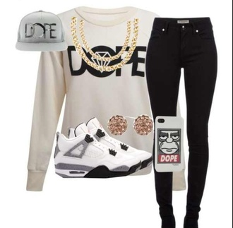 sweater pants where to the whole out fit?? where to get the ring hat shirt dope grey gold black jordans swag white jewels shoes