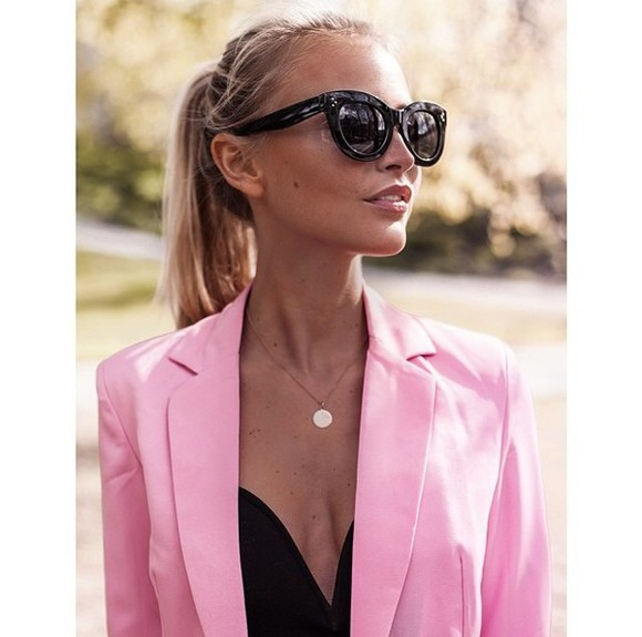 fashion blazer top black summer outfits pink