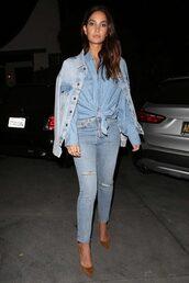 top,denim jacket,denim,lily aldridge,jeans