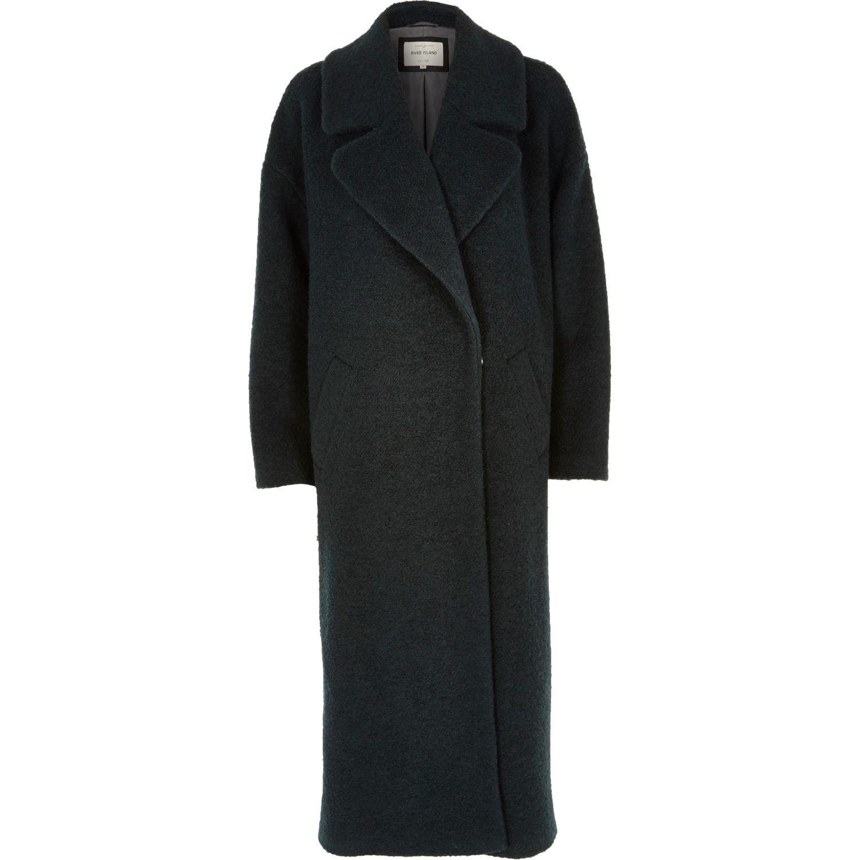 Green woollen maxi coat