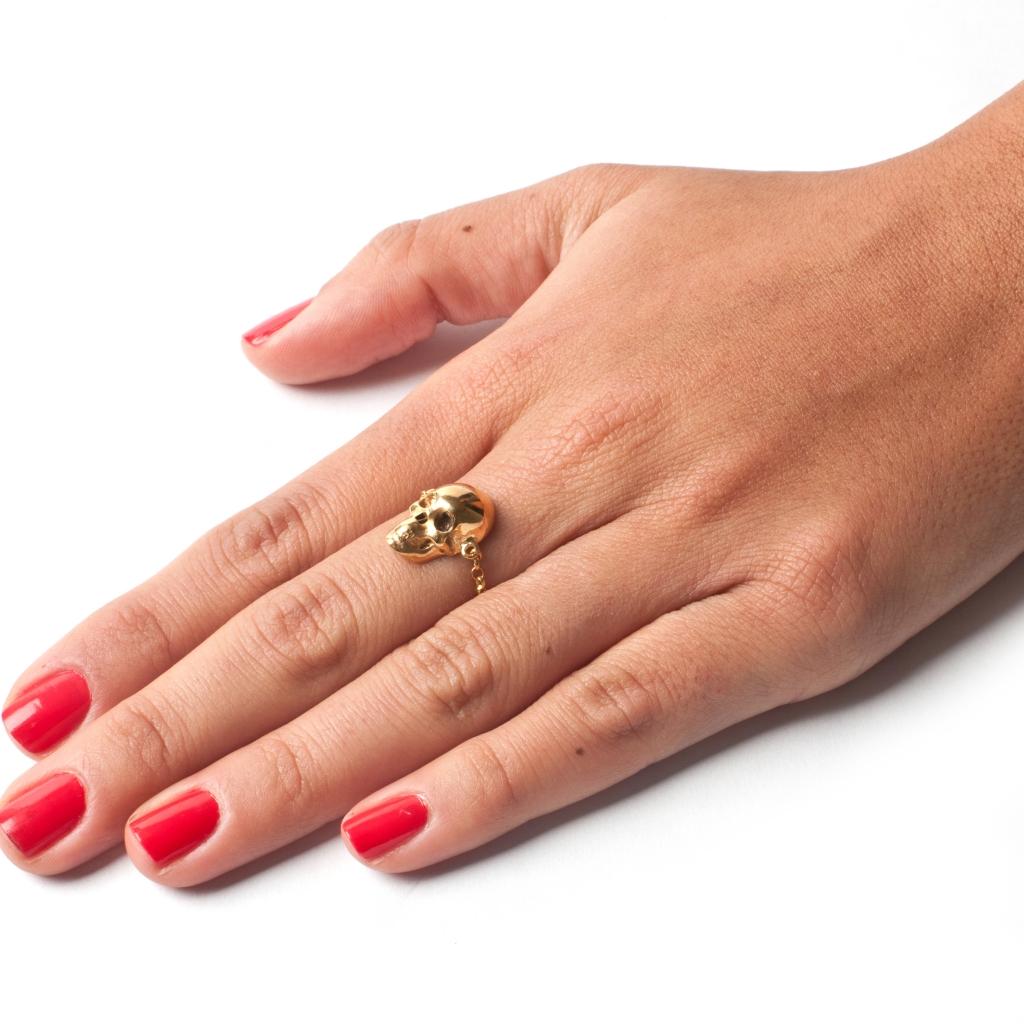 Skull Chain Ring - Gold - LeiVanKash - Jewellery