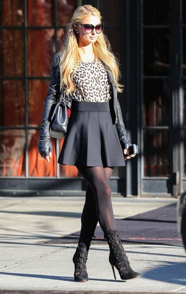 leopard print animal print top paris hilton fall outfits boots boties