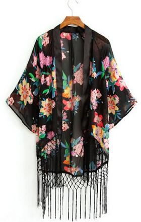 Flowers Fringed Kimono