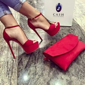 shoes red platform heels platform shoes red shoes high heels strappy heels