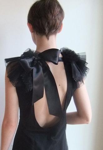 dress black black dress ribbon open back