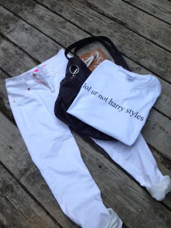 t-shirt lol ur not harry styles boy band white t-shirt