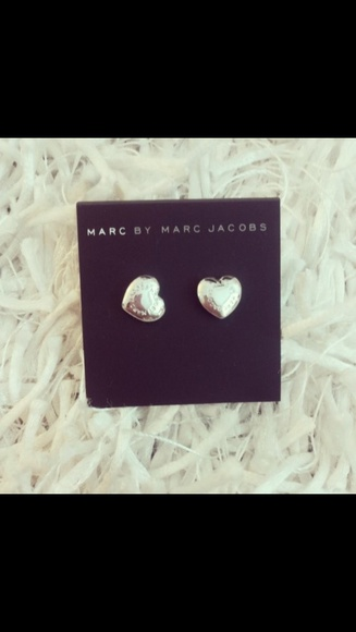 jewels earrings silver heart marc jacobs